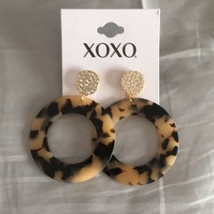 New XOXO Tortoise & Pave Crystal Disk Earrings